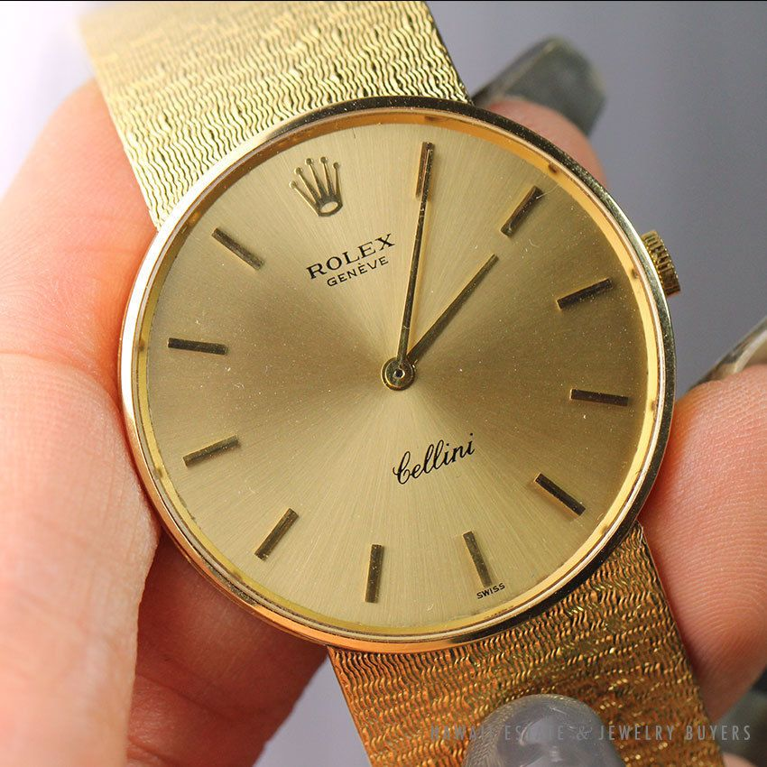 Details about ROLEX CELLINI RARE 18K YELLOW GOLD ROUND WRIST