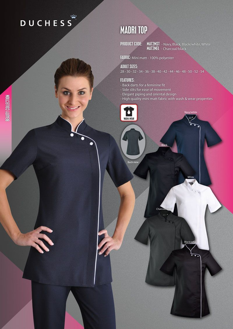 The Madri Beauty Salon Tunic Reflects The Style Of Oriental Influences It Is Common To See These Stylish Beauty Tops At Niche Salons And Spa S Across Johannesb Beauty Therapist Beauty Salon