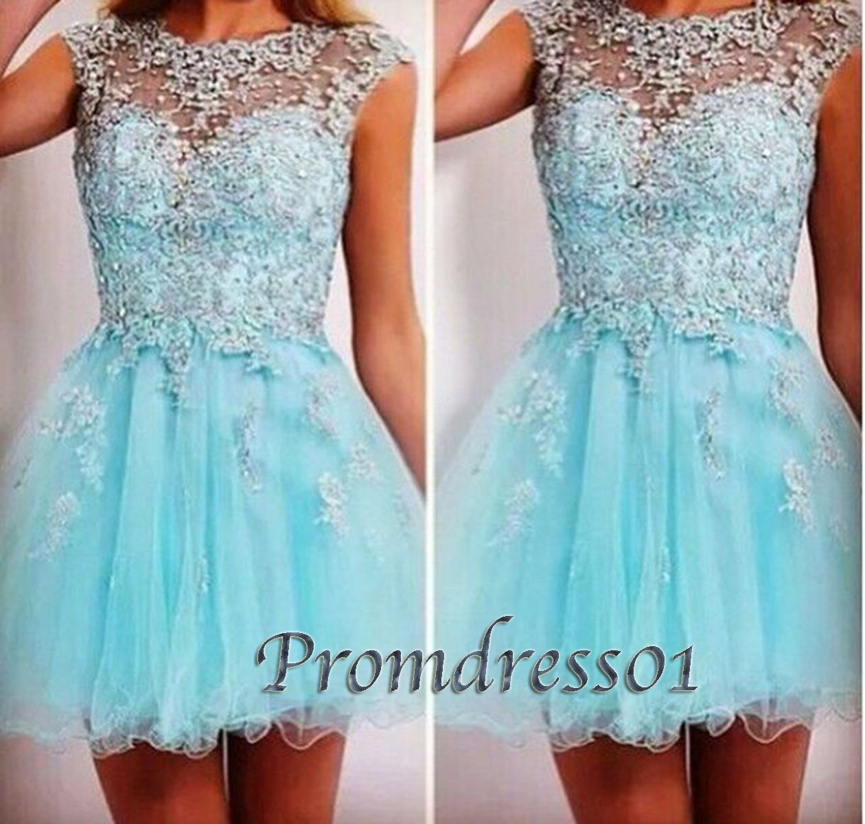 Prom dress short prom dress for teens round neck blue tulle