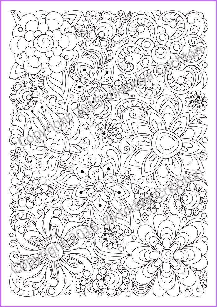 Adults And Children Coloring Page Pdf Printable Doodle Flowers Zendoodle Zentangle Inspired 2 Jpg Abstract Coloring Pages Coloring Pages Mandala Coloring Pages