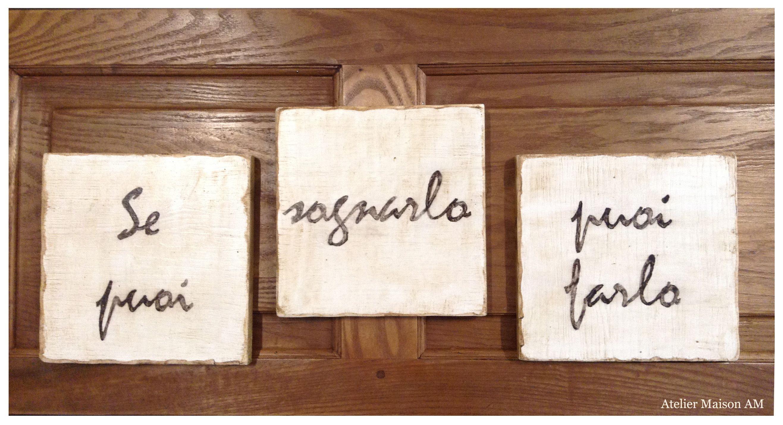 quadri in legno con scritte personalizzate