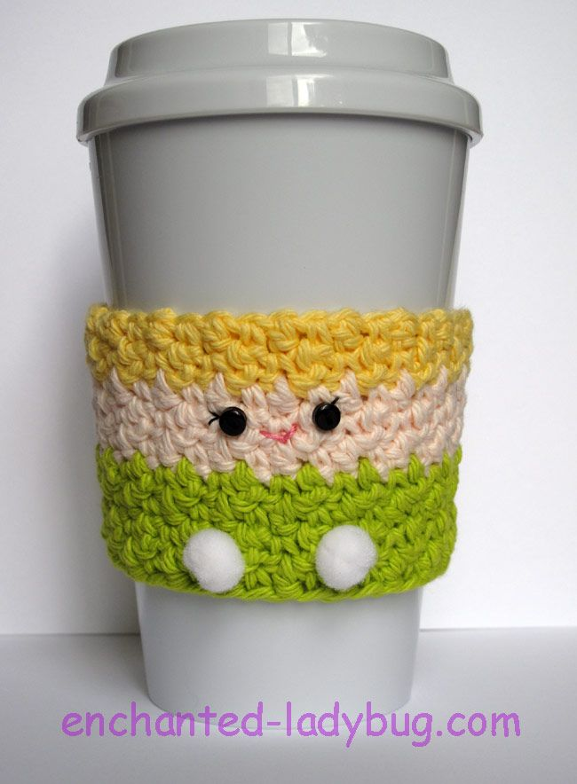 Free crochet Tinker Bell coffee cup cozy pattern by The Enchanted ...