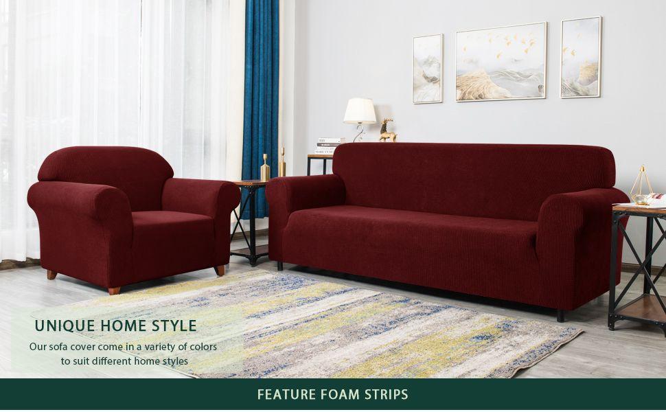 Chun Yi Jacquard Sofa Covers 1 Piece Polyester Spandex Fabric Stretch Slipcovers Sofa Wine Amazon Co Uk Kitchen Home In 2020 Sofa Covers Slipcovers Sofa