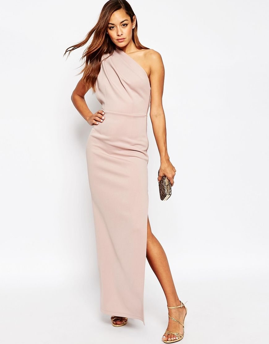 23e58488b2 ASOS One Shoulder Maxi Dress With Exposed Zip - just not this nude pink but  another brighter or bolder color.