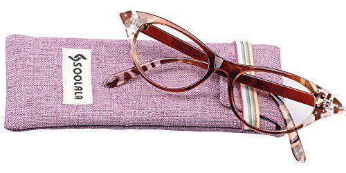 3ca4b41cf50a SOOLALA Womens Fashion Designer Rhinestone Cat Eye Magnifying Reading  Glasses Leopard 10D     Click