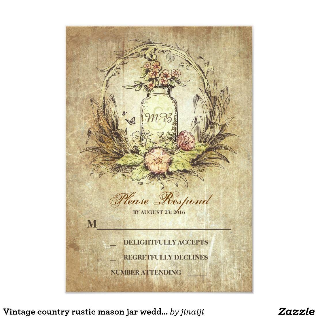Vintage country rustic mason jar wedding RSVP Card