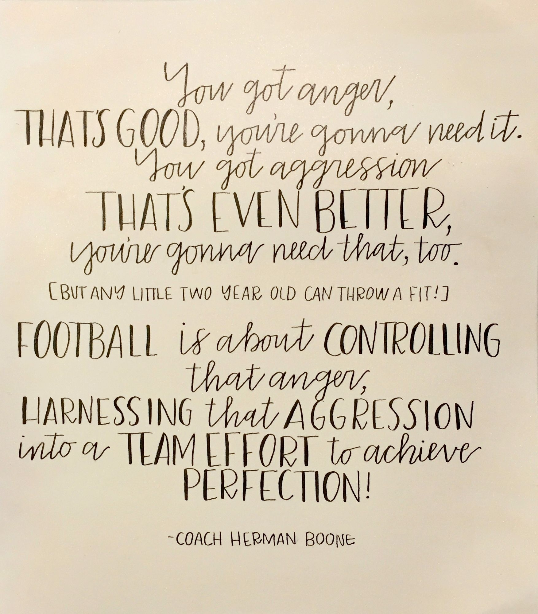 Remember the titans quote on a light gold watercolor background by