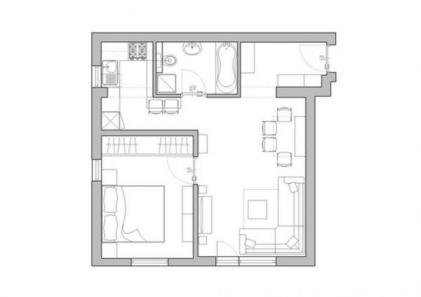 Assez Smart Small Apartment Plans Architecture: Ultra Small Apartment  AK26