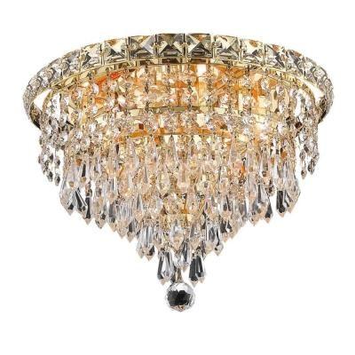 494 Elegant Lighting 6 Light Flush Mount Gold Finish Crystal