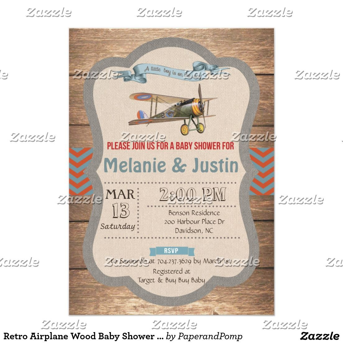 Retro Airplane Wood Baby Shower Invitation