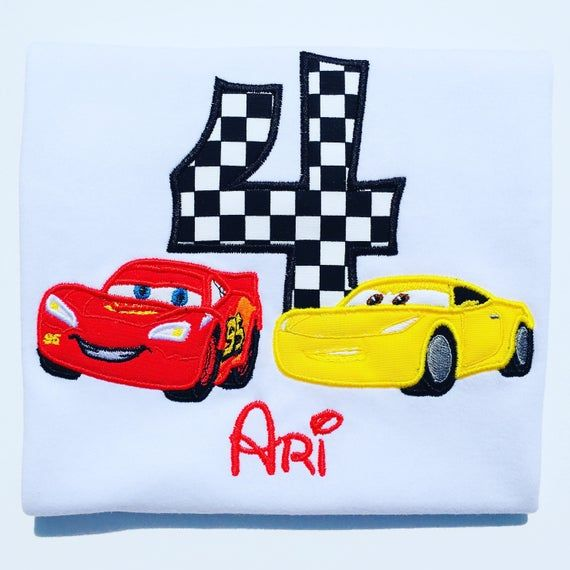 Fast Cars Birthday Embroidered T-Shirt