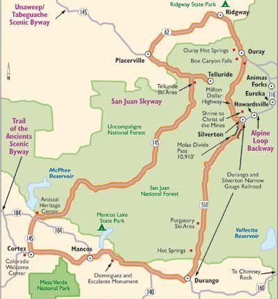 Colorado Scenic Drive San Juan Skyway Mountain Pass - Colorado waterfalls map