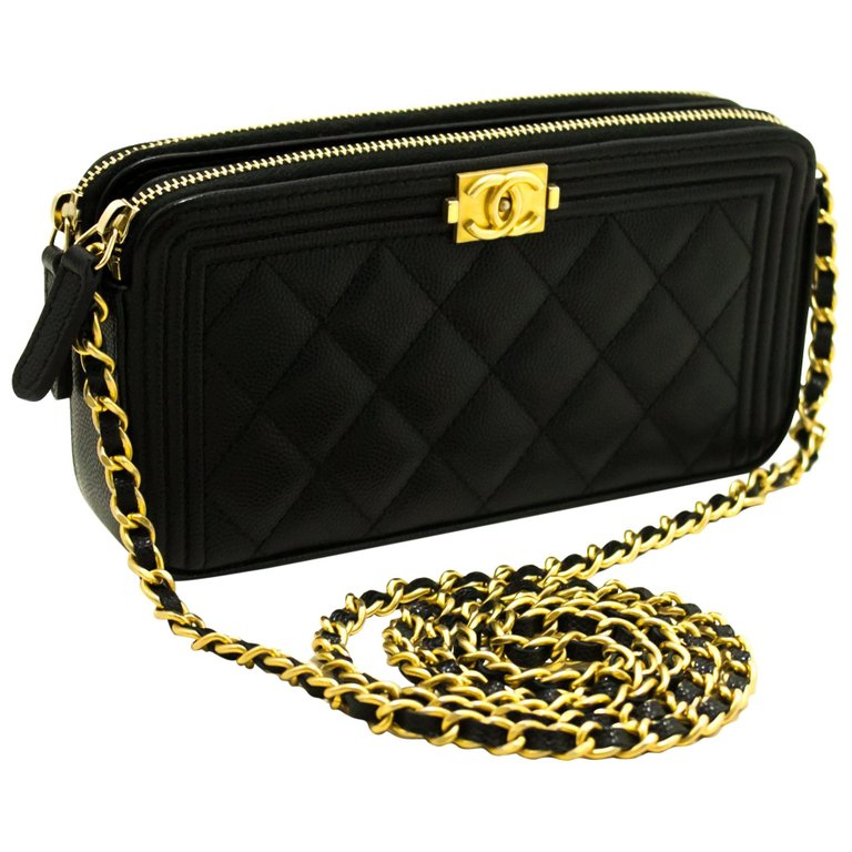 Chanel Boy Black Caviar Woc Wallet On Chain W Zip Shoulder Bag Black Leather Handbags Chanel Handbags Leather Handbags