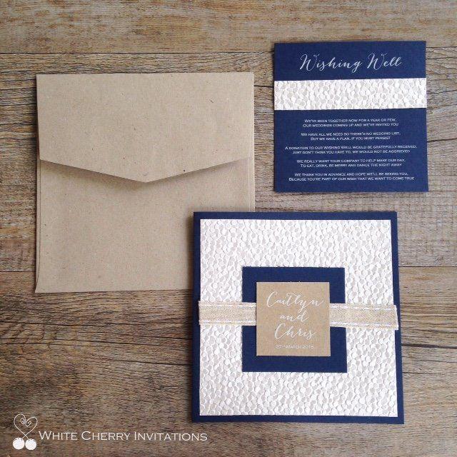 Nautical Navy Beach Themed Wedding Invitation Using Embossed Shimmer Pebble Paper