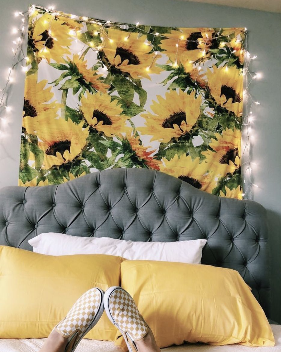 Summer Flower Tapestry #sunflowerbedroomideas