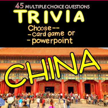 China Trivia Powerpoint /Card Game 45 Qs Distance