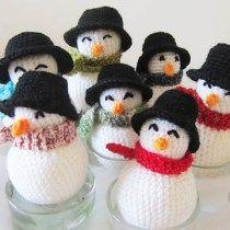Minis bonhommes de neige au crochet Les Petits