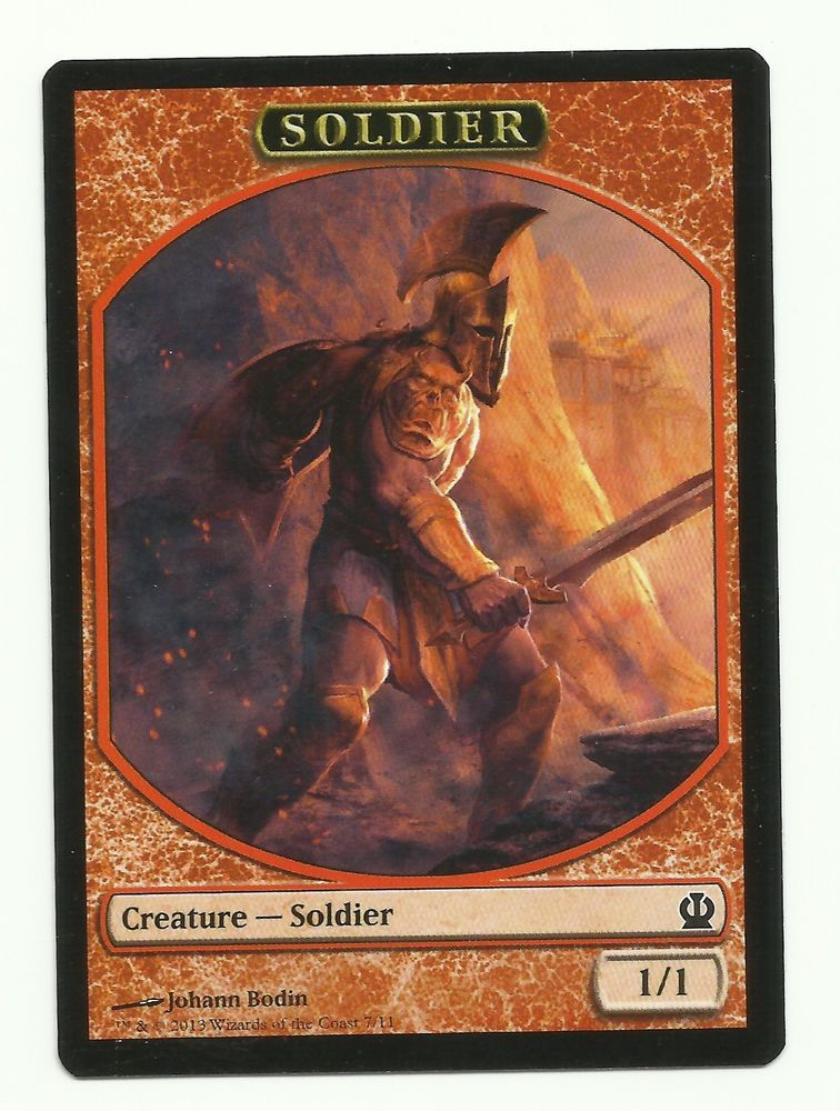 Soldier Token X1 Mtg Theros Red Creature Magic The Gathering Card