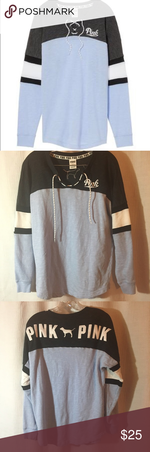 VS PINK Blue and Grey Lace Up Crewneck | Pink blue, Lace and Blue and