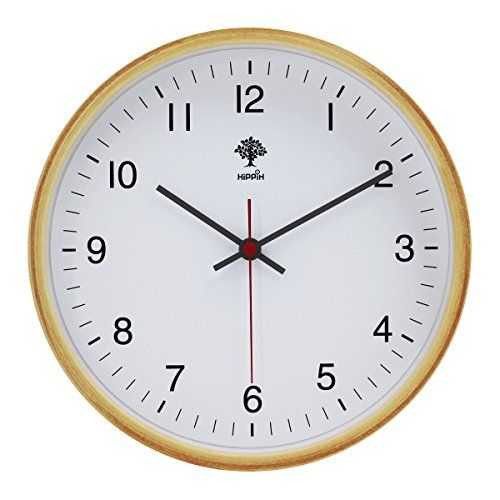 Buy Hippih Silent Wall Clock Wood 8 Inches Non Ticking Digital Quiet Sweep  Decorative Vintage
