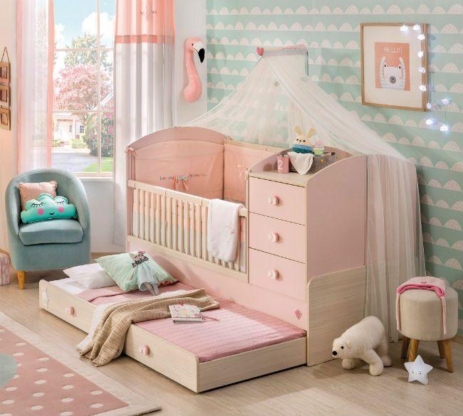 Baby Girl muebles para habitación de bebé niña | Cuna convertible ...