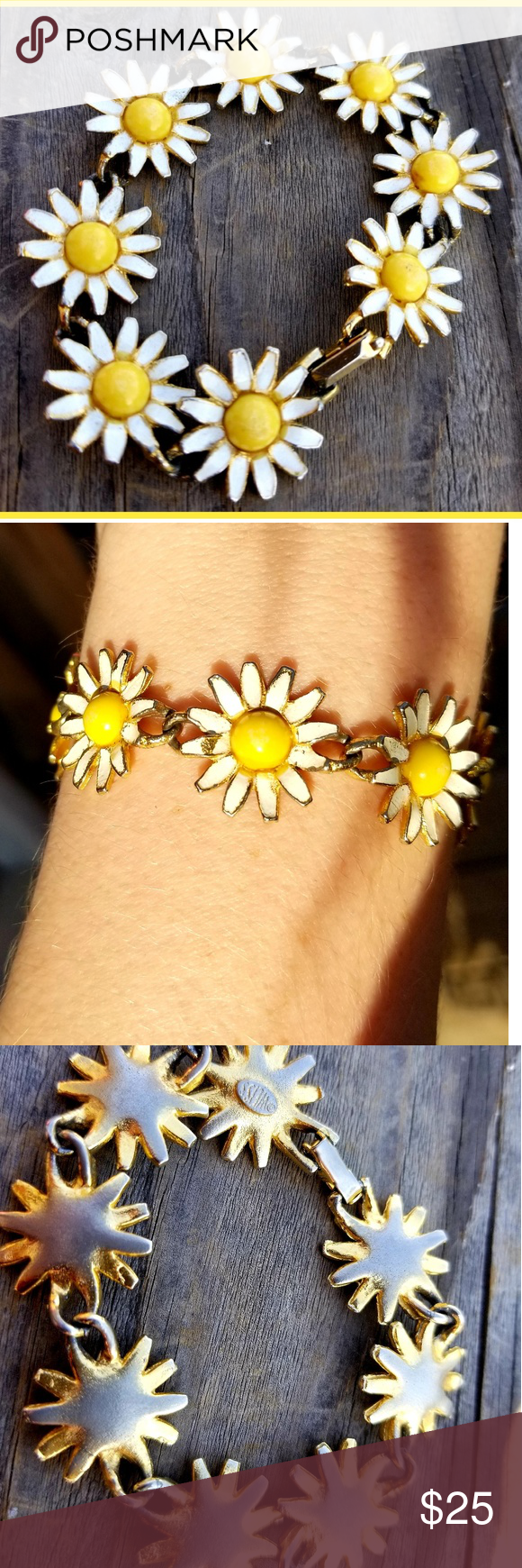 Vintage Daisy Chain Enamel 60's Weiss Bracelet Super cute signed Weiss Daisy  chain bracelet. The daisies are about the size of actual tiny wild daisies.