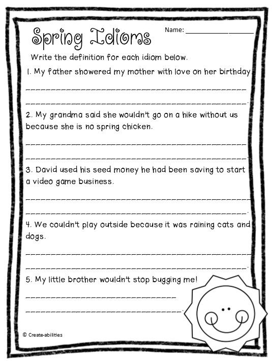 Idioms Spring Themed Idiom Practice Ccss Language Worksheets Idioms Writing Lessons Idiom worksheets for 2nd grade