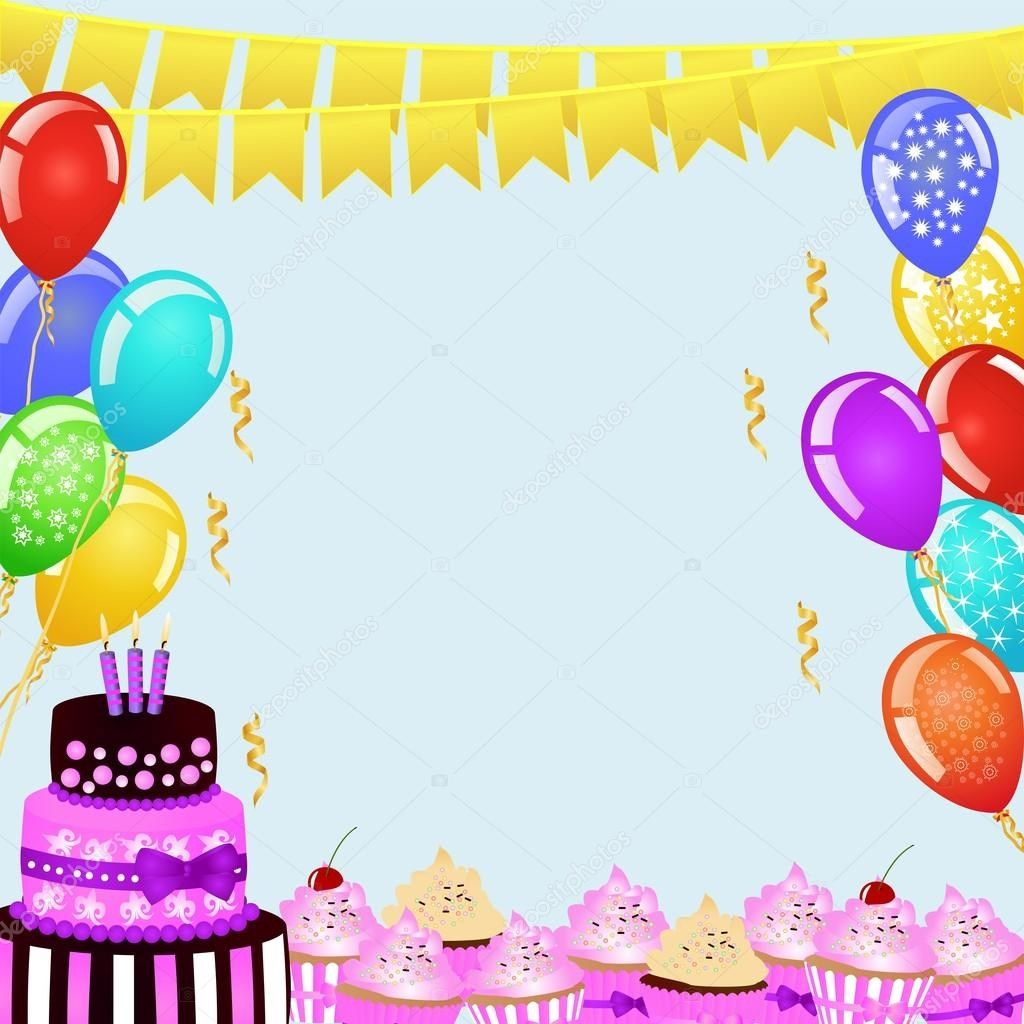 30 Elegant Photo Of Birthday Cake And Balloons Party Background