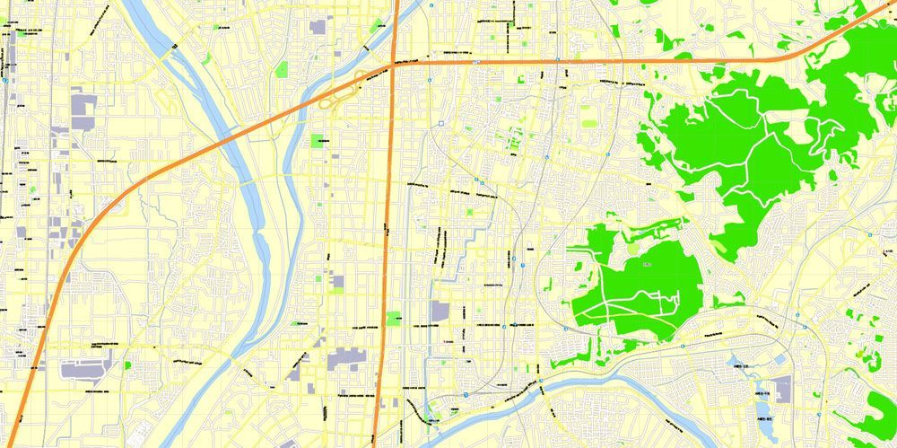 Kyoto Japan printable exact vector map G View level 16 250 meters