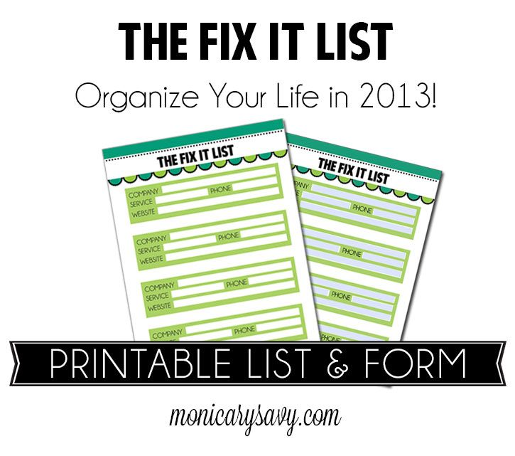 The Fix It List A Free Printable And Fillable Form To Help You