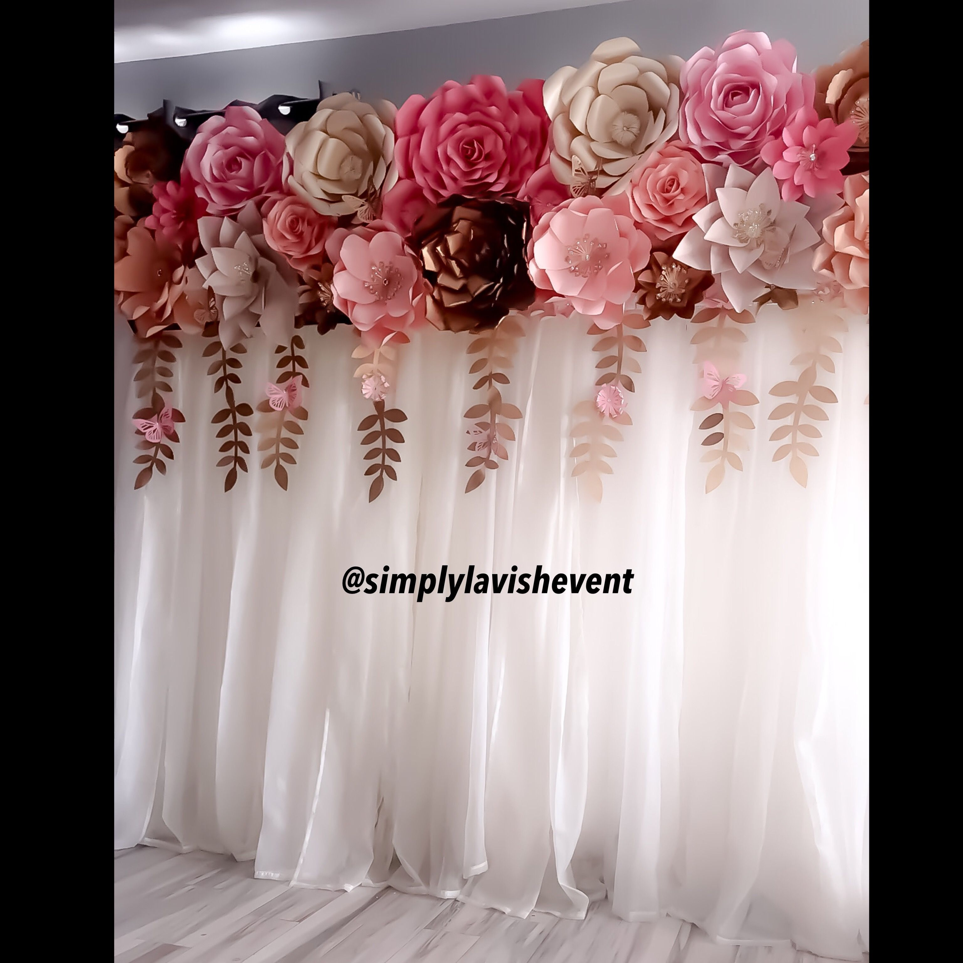 A Perfect Paper Flower Backdrop For A Bridal Bower Baby Shower