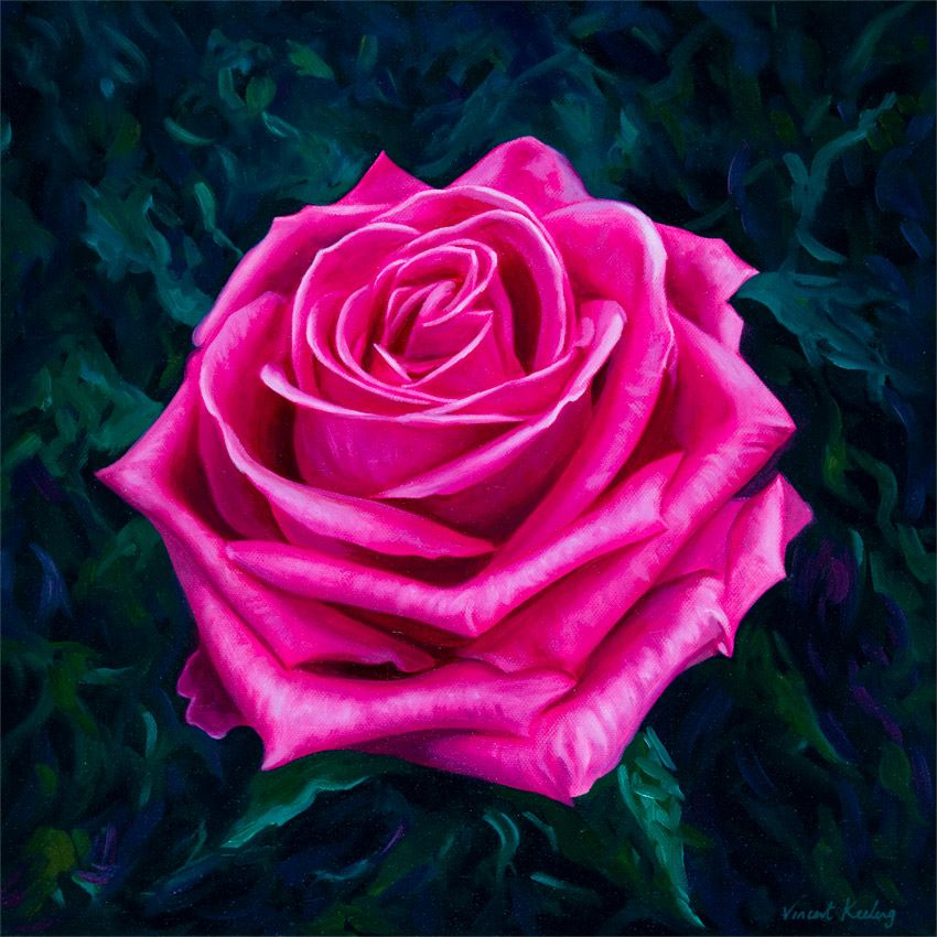 Valentine Rose, signed limited edition print, from original oil painting, by Vincent Keeling
