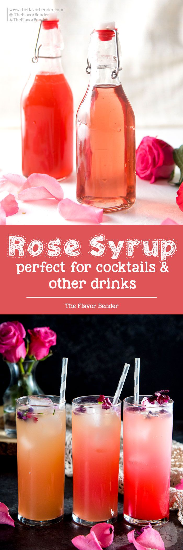 Rose Syrup (and Vanilla Rose syrup) -  made with rose water for cocktails and other drinks, like Falooda (Rose syrup milk shake) and other desserts too. #Rosewater #Floralcocktails #Rosesyrup #Falooda #FloralDrinks via @theflavorbender
