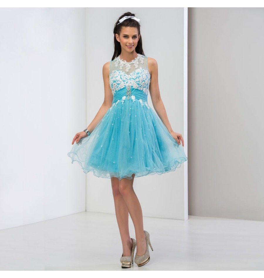 Tüll Cocktailkleid A-Linie Kleid Hellblau | Günstige Damenmode ...