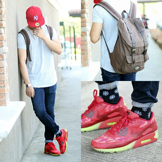 Get this look: http://lb.nu/look/7982406  More looks by Nick Ronquillo: http://lb.nu/nickronquillo  Items in this look:  Nike Airmax 90   #red #newyear #nickotine #blogger