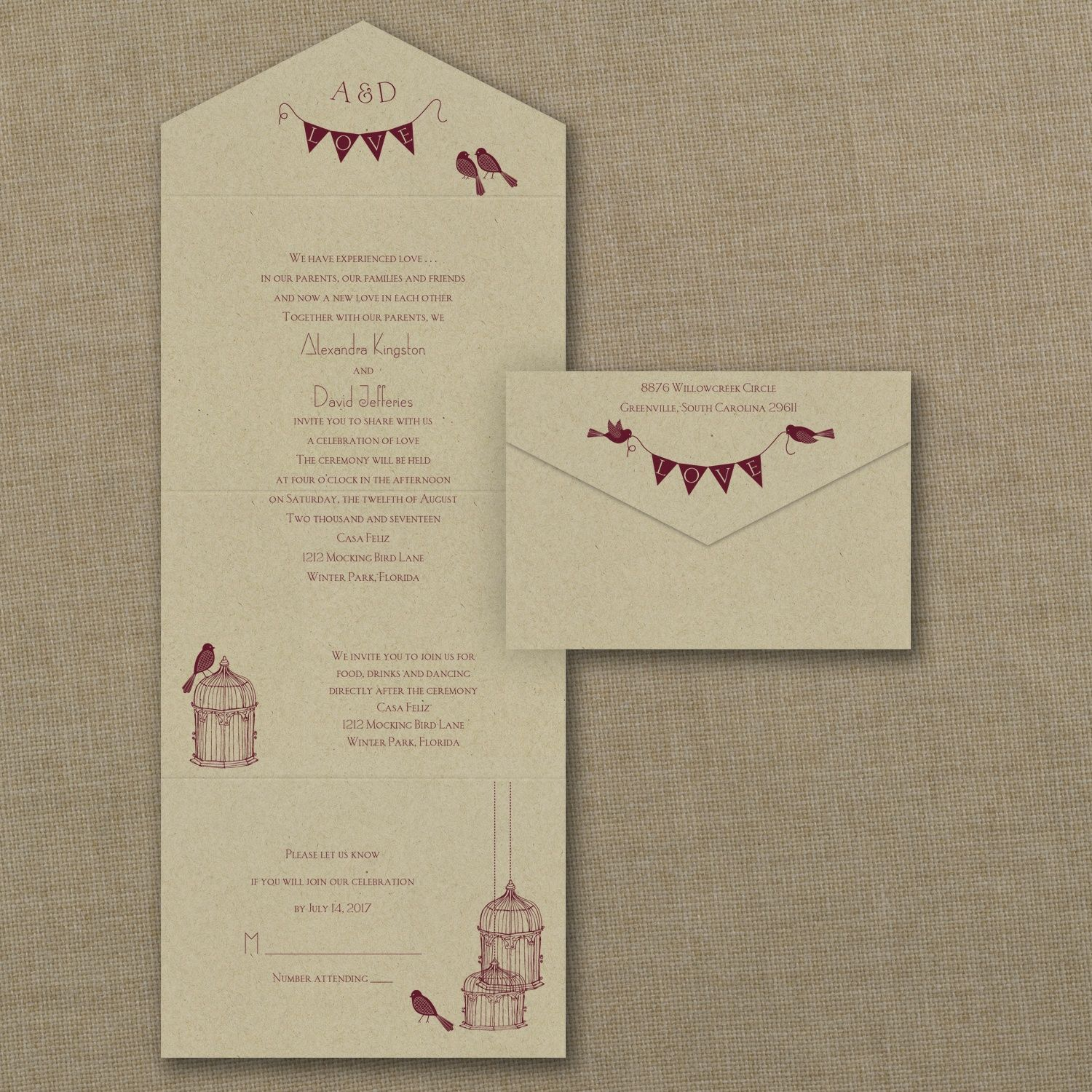 Bird Themed Wedding Ideas - Banners and Birds - Seal \'n Send - Kraft ...