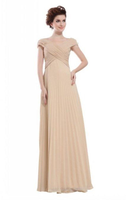 Amazon.com  Joydress Women s Pleated Ruched A-line Floor-length V-neck Dress  Champagne  Clothing 6dc7632a9050