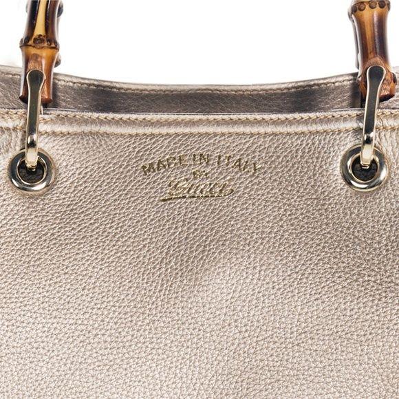554c8842f46b Gucci Bamboo Metallic Beige Leather Large Shopping Gucci Bamboo Leather  Shopper Shoulder Tote Bag 323658 -