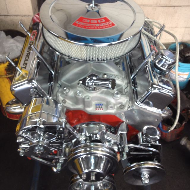 A chevy 350 engine chromed out  The engine in my '73 Laguna never