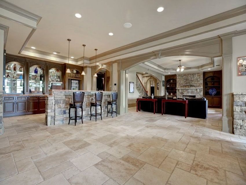 Traditional Basement Bar At Luxury Home With Travertine Floors
