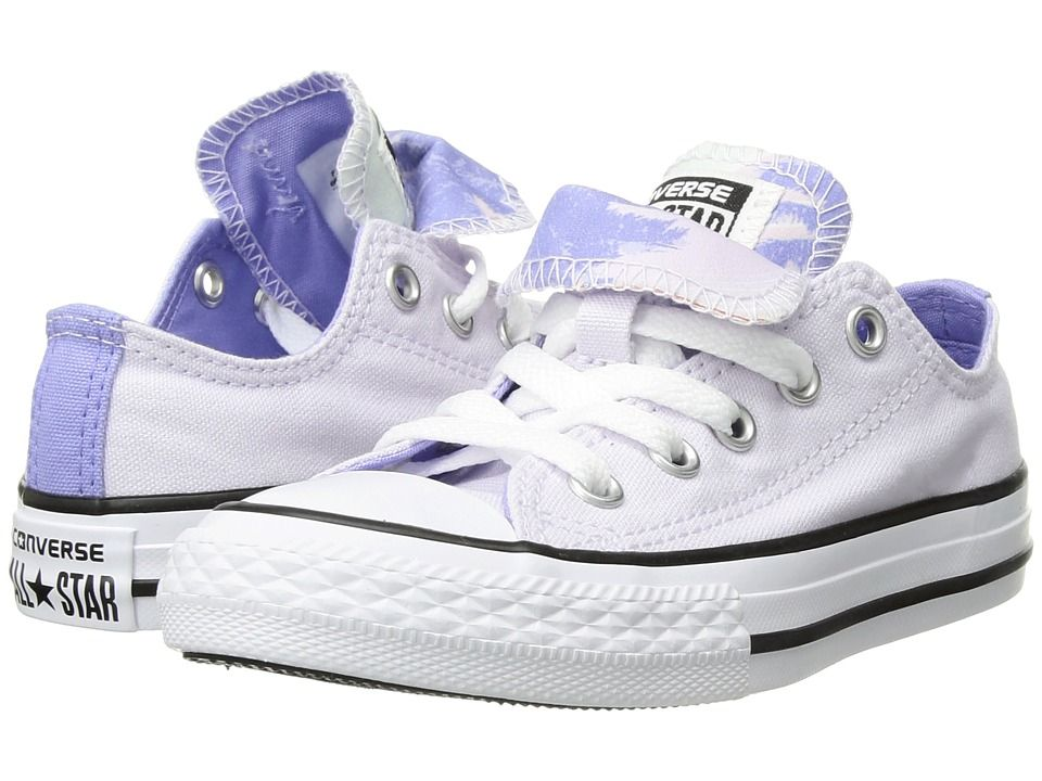 a30965a9a82d Converse Kids Chuck Taylor All Star Double Tongue Palm Trees Ox (Little  Kid/Big Kid) Girls Shoes Barely Grape/Twilight Pulse/White