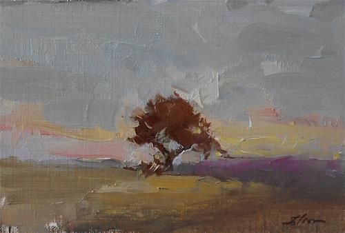 "Daily Paintworks - ""Tree at Sunset"" - Original Fine Art for Sale - © Kelli Folsom Media: Oil on canvas paper Size: 4x6 in"