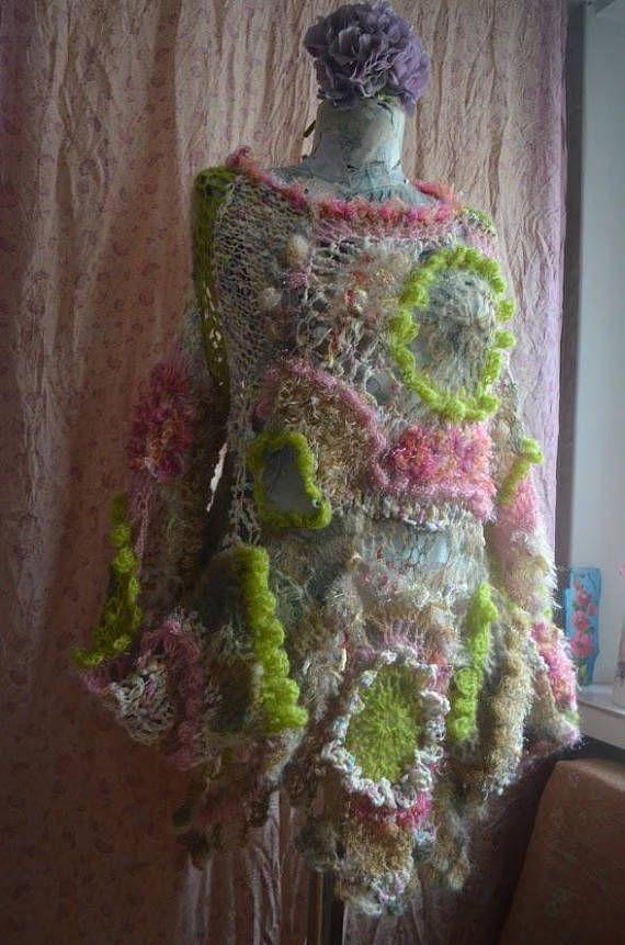 Art to wear freeform Knitted-crocheted sweater mori girl fairy ...