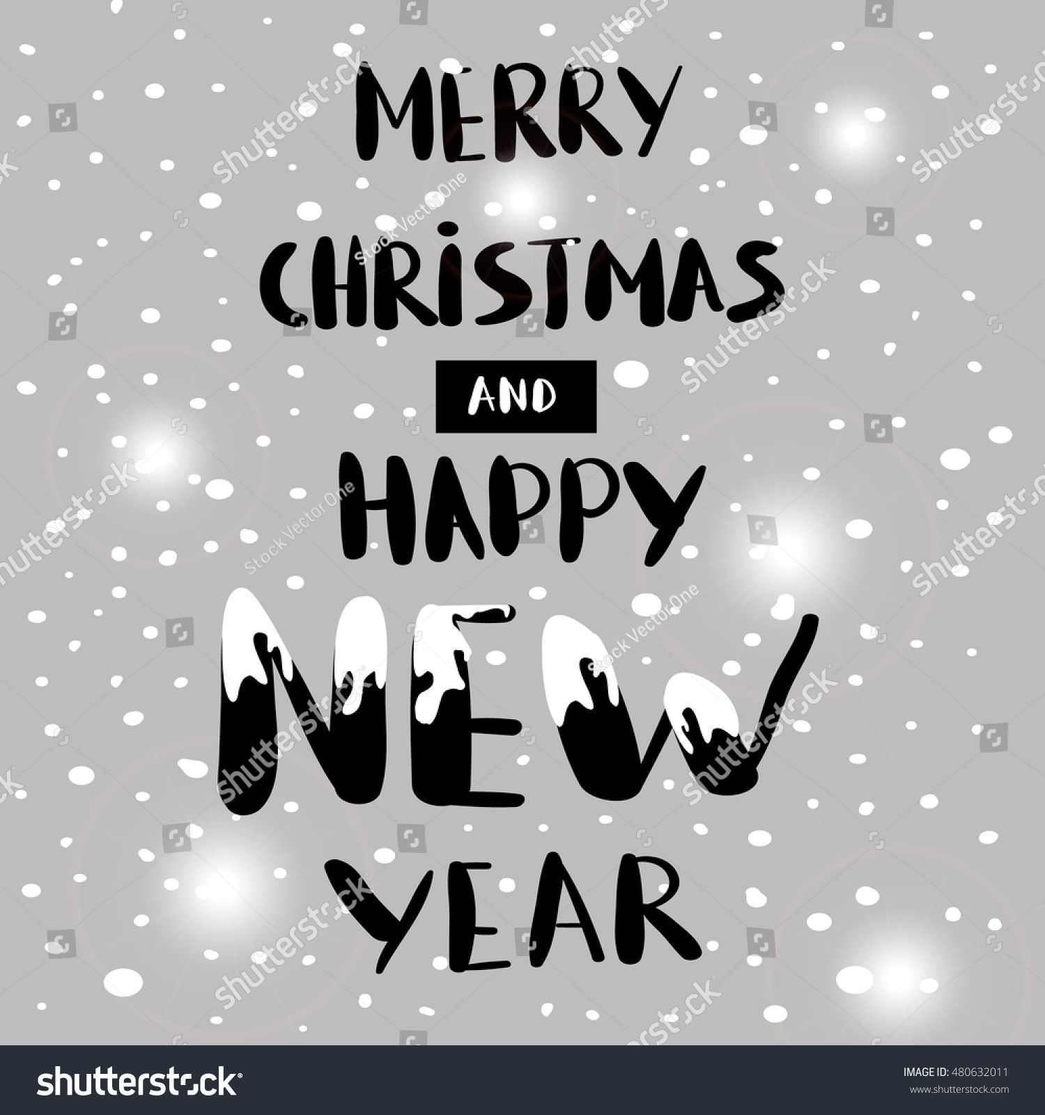 Merry Christmas and Happy New Year poster. Holiday cute design ...
