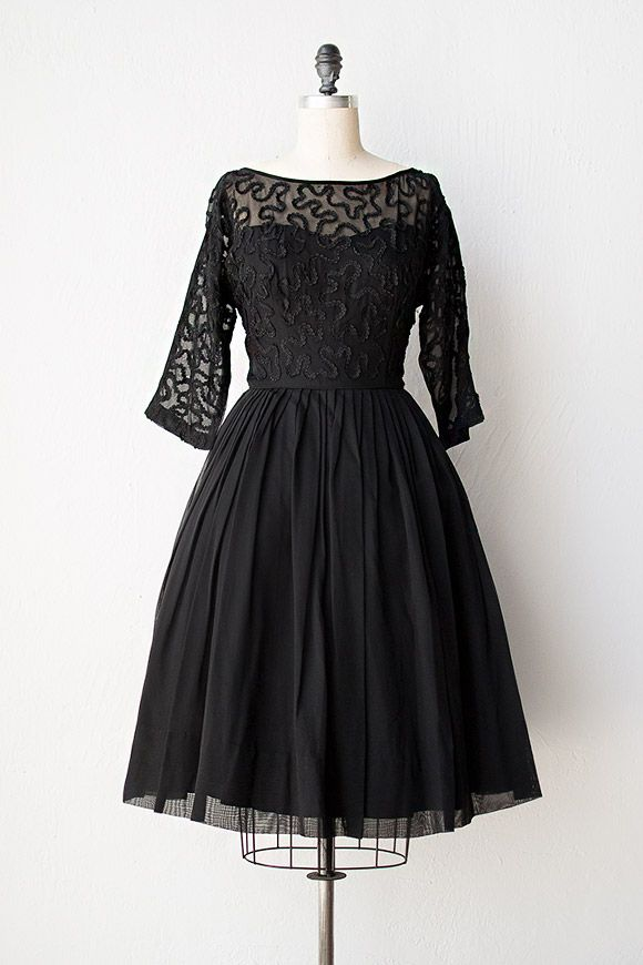 vintage 1950s dress | 50s dress | Tides of Midnight Dress #vintage ...