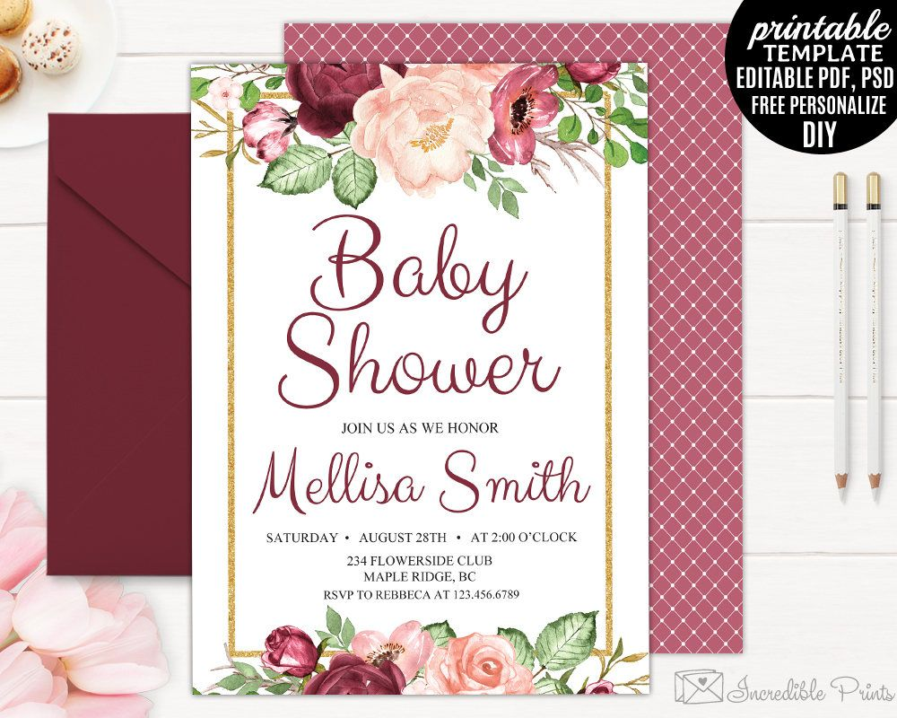 Marsala Baby Shower Invitation Template Watercolor Flower Red Bohemian  Blush Floral Red Burgundy DIY PDF PSD  Baby Shower Invitation Template Download