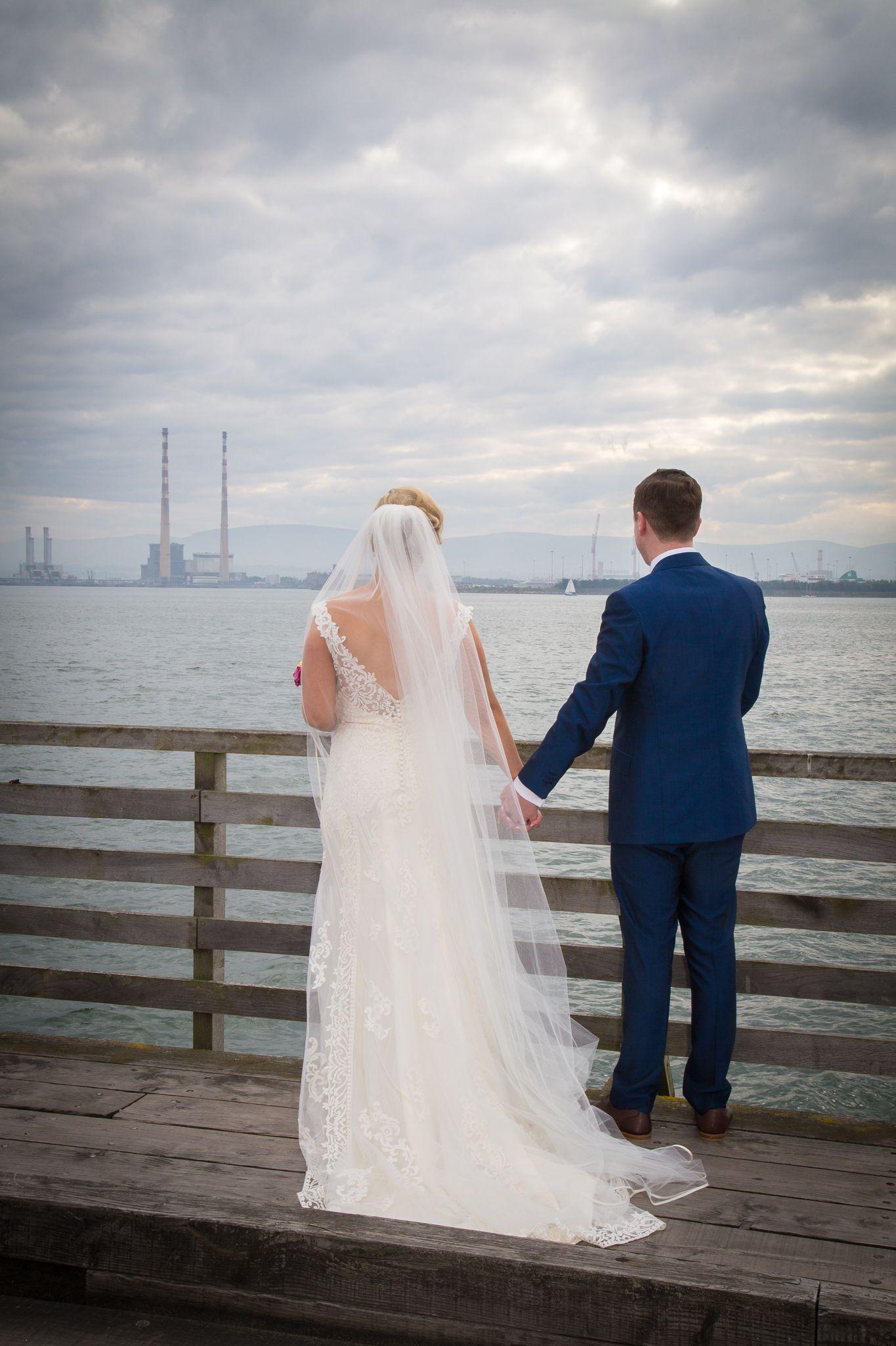Bull Island Bridge Wedding Couple Before heading