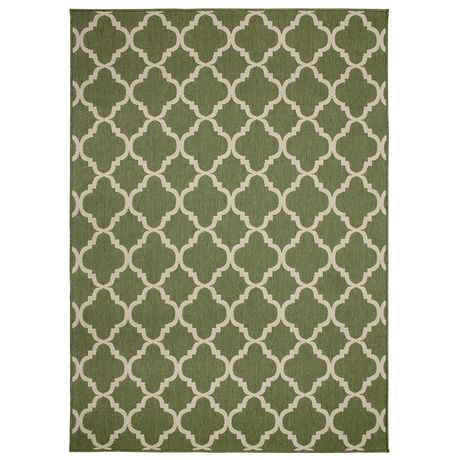 Carpet Art Deco Modello Indoor Outdoor Rug Green 5 Ft 2 In
