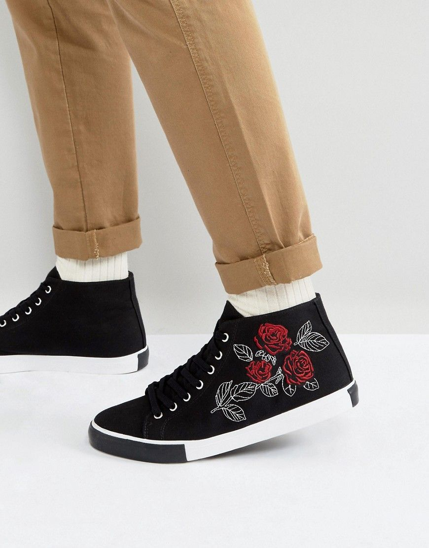 ASOS DESIGN mid top sneakers with embroidery