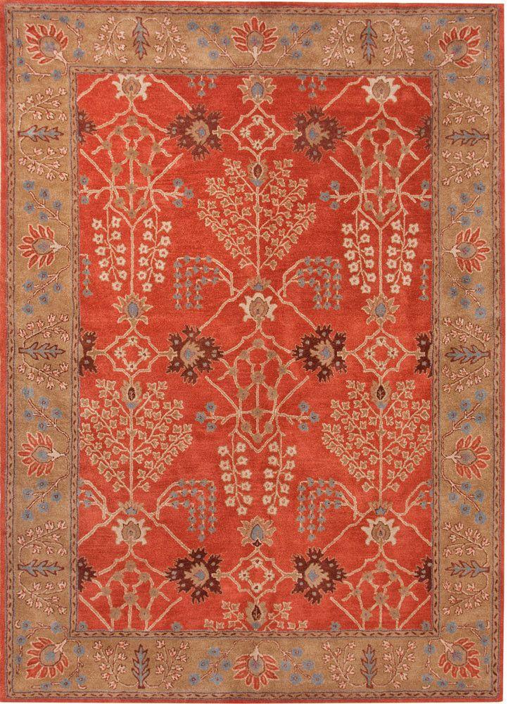 Poeme Chambery Orange Rust Gold Brown Area Rug Wool Area Rugs